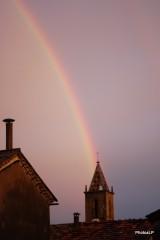 Arc en ciel sur le clocher de Méailles-PhotosLP-2009.JPG